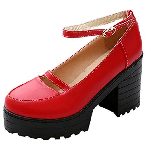 Partiss Damen Gothic Lolita Wedge Shoes High-top Casual Lolita Pumps Herbst Fruehling Hochzeit Tanzenball Maskerade Anime Cosplay Diestmaedchen Platform Pumps Lolita Schuhen Rot
