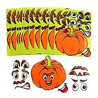 LOKIPA 12 Sheet Halloween Pumpkin Decorating Craft Kit Stickers - Makes 12 Pumpkins Sticker Decorations