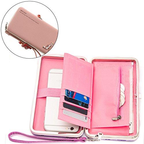 Portafogli da Donna Borsa con Diamante Bowknot Modello, Bonice Multifunzionale [Grande Capacità] Smartphone Wristlet Custodia Case Cover per iPhone 8 /8 Plus /X /7 /7Plus /6S /6S Plus /6 /6Plus /SE /5 Modello 04