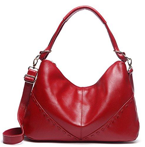 Xinmaoyuan Borse donna borsa Big Bag Vera Pelle Borsa a tracolla messenger bag,Nero Rosso
