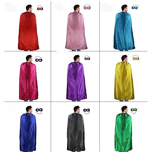 Imagen de 10 pack a granel adultos capas y máscaras de superhéroes disfraces para hombres y mujeres disfraz de fiesta 140cm
