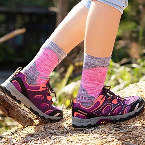 51fEZ5O AIL. SS500  - YUEDGE Women's Hiking Walking Socks 5 Pairs Anti Blister Cotton Cushion Athletic Sports Crew Socks For Ladies Year Round