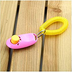 Hund Pet Click Clicker Training Gehorsam Agility Trainer Hilfe Handschlaufe Groß für Training Gehorsam/HTM / Agility Pet Supplies - Pink
