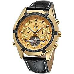 Forsining Men's Fantastic Automatic Day Calendar Tourbillon Leather Strap Wrist Watch FSG340M3T7