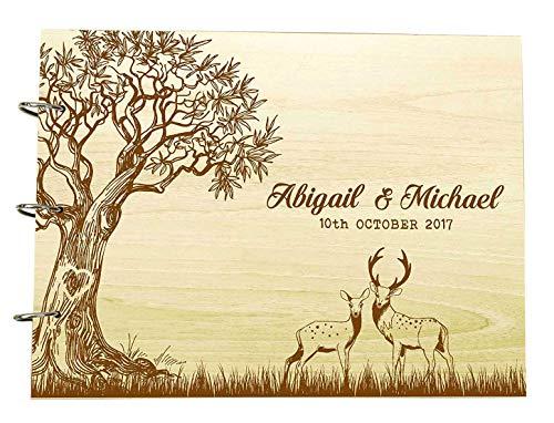Livre d'or de mariage d'arbres avec des crayons en bois personnalisés personnalisés et des albums de photos de date scrapbook personnalisé