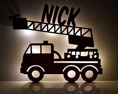 Schlummerlicht / Nachtlicht 'Feuerwehr-Auto' - personalisiert mit Namen - Optional mit Zugschalter und Lackierung erhältlich - 50% dickeres Holz als bei den Mitbewerbern!