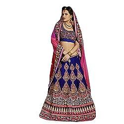 Triveni Womens Net , Velvet Lehenga Sarees (TSXFL1606_Blue)
