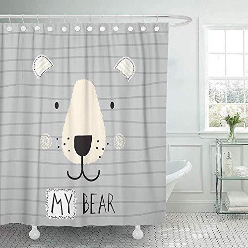 Setyserytu Duschvorhänge, Fabric Shower Curtain with Hooks Teddy Cute Bear Face on Striped Animal Baby Little Adorable Beautiful Big Boy Decorative Bathroom Treated to Resist Deterioration by Mildew
