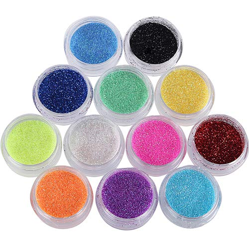 jhtceu 12 verschiedene Farben Glitzer Nail Art Dekorationen Puder Zubehör Set für UV Gel Acryl Tips Mädchen -