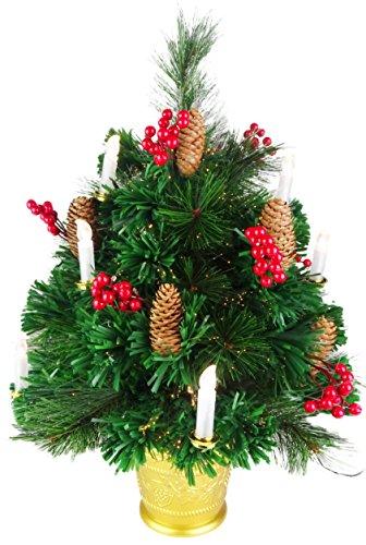 Christmas Concepts 2ft (60cm) Albero di Natale in Fibra Ottica a Fibre Verdi con Coni, Bacche Rosse e Candele a LED