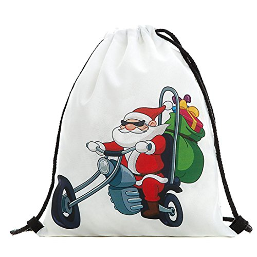 Weihnachten Candy Rucksack, Geschenk Bundle Tasche Santa Claus Rucksack Schneemann bedruckt Staubbeutel, D