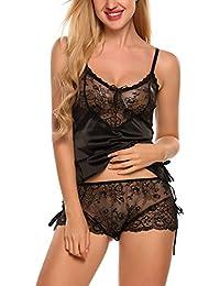 Scallop Mujer Camisón Conjunto de Lencería 2 Piezas de Satén Costura de Encaje Espalda Cruzada Profundo V Pijama Sexy