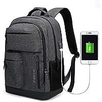 JANSBEN Mochila Escolares Impermeable Hombre Mujer Bolsas para Portátil Ordenador Casual Backpack con USB Puerto de