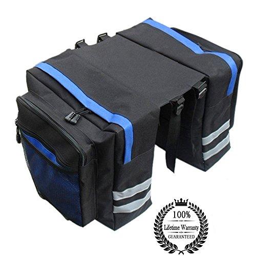 AUVSTAR Bike Rack Bag mit doppelter Panniers, 24L,8 Seite Reflektoren, Fahrrad hinten Sattel Regal Gepäck Handtaschen für Cargo Laptop, Rückseite Sitz Messenger Pack Trunk Satteltaschen