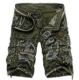 Jeansian Estate Tendenze Moda Uomo Sport Casuale Militare Pantaloncini Calzoncini Corti Shorts S201 ArmyGreen W34