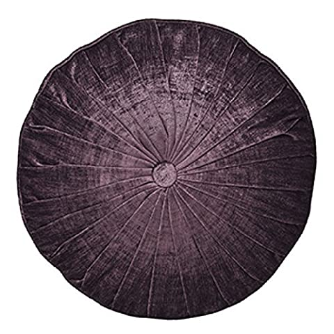 Paoletti Wellesley Chenille Velvet Woven Filled Round Cushion, Plum, 40 Cm