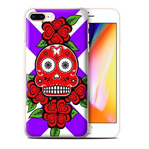 Stuff4 Hülle / Case für Apple iPhone 8 Plus / Grün/Rose Muster / Süßigkeiten Schädel Kollektion Rote/Rose