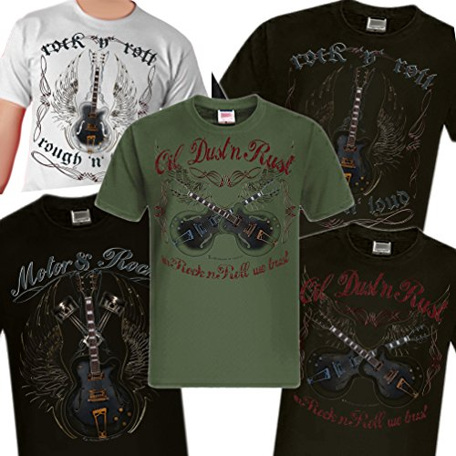 Shirtmatic Rock n Roll Rockabilly Guitar Vintage Loud Gitarre T-Shirt Oil Dust Rust schwarz