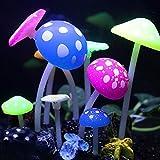 Topker leuchtende künstliche Fake Lotus Blätter Gras Pilze Fisch Tank Dekor Aquarium Ornament