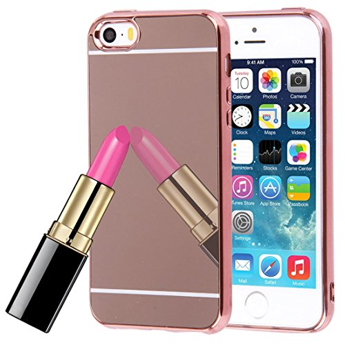 Wkae Case & Cover Pour iPhone 5 &5s &Case Cover SE Electroplating Mirror TPU protection ( Color : Grey ) Rose Gold