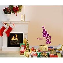 60 cm x 32 cm tamaño de la decoración de Navidad color frambuesa Mickey mouse con su nombre elegido, nombre, nombre personaliseitonline, árbol de Navidad, infantil, vinilo del coche, las ventanas y pared, ventanas de pared arte, etiquetas de Navidad, adorno adhesivo de vinilo ThatVinylPlace