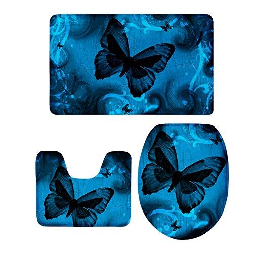 Fenteer 3-teilige Schmetterling Stil Badezimmer Matte Badteppich Badvorleger Duschmatte Teppich - 11