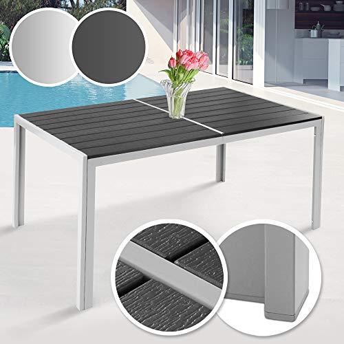 Gartentisch 150 x 90 cm   aus Stahl und Kunststoff, für bis zu 6 Personen, Witterungs- und UV-beständig, in Grau   Metall Tisch Garten Balkon Esstisch Sitzgarnitur Gartenmöbel (Hellgrau) -