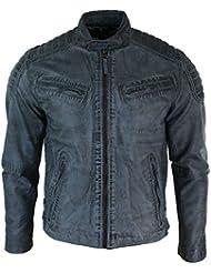 Veste Homme Style Motard Biker Cuir Véritable Bleu Gris Délavé Vintage Designer Fermeture Eclair