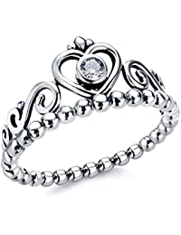 Moneekar Jewels Fashion 925 Sterling Silver Plated Vintage Retro Crown Princess Diamond Ring Romantic Lovers Ring...