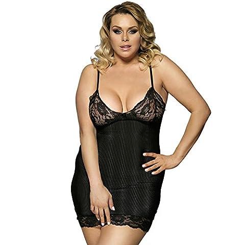 Damen sexy Dessous Plus Size Nachtwäsche Set Kleid Komfortable Sling Streifen Nachtwäsche , 5xl (Seemann-mädchen-kostüm-plus Size)