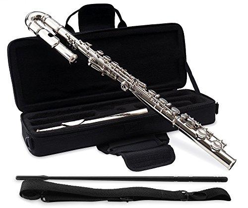 Classic Cantabile FL-100J Querflöte (Tolles Einsteigerinstrument, ein gebogenes, ein gerades Kopfstück, komplett aus vernickeltem Neusilber, vorgezogenes G, C-Stimmung, inkl. Etui, Zubehör) Silbern