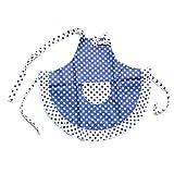 SYM Cook-Teglia da forno, per bambini da Principessa, Frills-Grembiule da cucina, motivo a pois, con panno per la pulizia blu