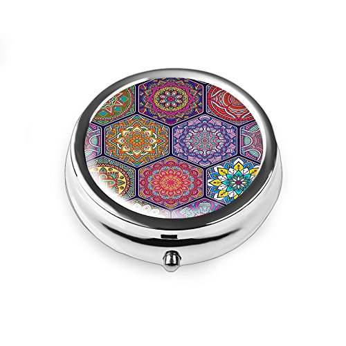 Lizimandu 3 Fächer Pillendose - Pillenbox mit getrennten Fächern,kompaktes Design Tablettendose Medikamenten Vitamin-Aufbewahrungsbox(Hexagon Böhmen/Hexagon Bohemia)