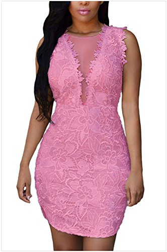 meinice-lace-nude-mesh-accent-dress-pink