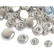Botones de presión para cierre seguro para chaquetas, pantalones vaqueros, bolsas, correas y otros proyectos de costura, 15 juegos completos, 10/12,5/15/17 mm, Plateado, 15 Sets 10mm