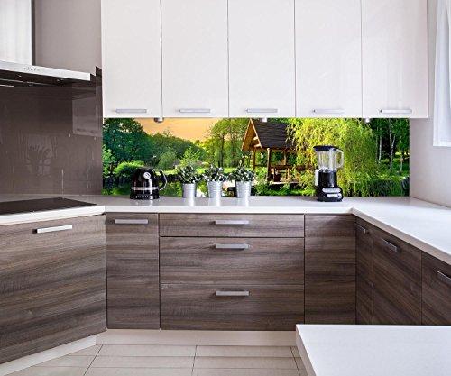 Küchenrückwand Gartenlaube an kleinem See Nischenrückwand Spritzschutz Design M0694 240 x 60cm (B...