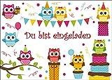 10-er-Set niedliche Eulen-Einladungskarten (10712) / Geburtstagseinladungen Kinder Mädchen Jungen zum Kindergeburtstag von EDITION COLIBRI © - umweltfreundlich, da klimaneutral gedruckt