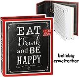 Kochbuch & Backbuch - Ordner / Ringbuch / Sammelordner -  Eat, Drink an be Happy  __ 25 Seiten - ERWEITERBAR - Rezeptbuch zum selberschreiben mit Register -..