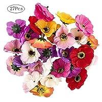 Cratone 27Pcs Handwork Craft Artificial Flower Silk Flowers Heads Multicolor Cherry Blossoms for Wedding Party Decoration (27pcs)