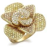 ISADY - Dallas Pink - Damen Ring - 585er 14K Gold platiert - Zirkonium Mehrfarbig Pink - T 62 (19.7)
