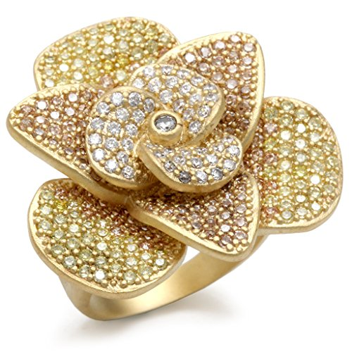ISADY - Dallas Pink - Damen Ring - 585er 14K Gold platiert - Zirkonium Mehrfarbig Pink - T 55 (17.5)