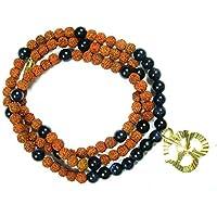 Boho Chic Black Agate 108 Mala Necklace for Grounding