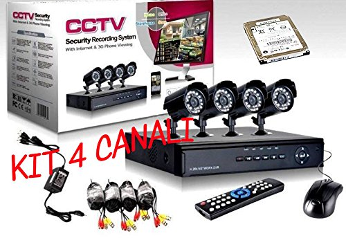 Kit DVR Kameras 4Kanal und 4Kameras IR LED HD 500GB enthalten 500 Gb Dvr