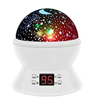 Star Night Light, SCOPOW Star Projector Rotation Night Lamp with LED Timer Auto-Off Moon Star Light Projector Nursery Projector Gift Toy for Kid Children Bedroom