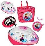 alles-meine.de GmbH 3 TLG. Set: Kinderhelm + Fahrradklingel + Fahrradkorb -  Disney Frozen - die Eiskönigin  - Gr. 52 - 56 - Circa 3 bis 15 Jahre - Größen Verstellbarer / mitwa..
