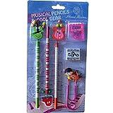 Punk Musique d\'école d\'Coffret cadeau Lot de 6parmi les Crayons gomme Taille-crayon Paper Clip Cartoon musical instruments pencils set