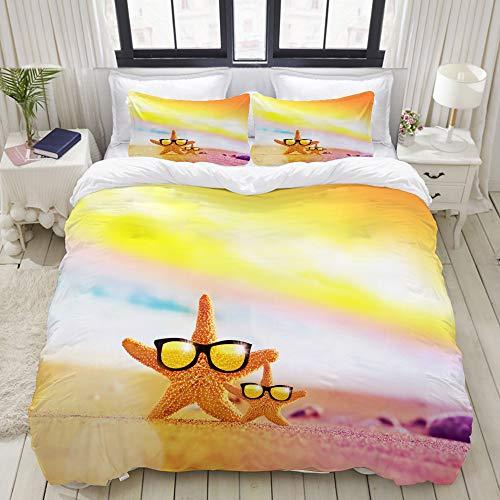 MIGAGA Bedding Bedrucktes Bettbezug-Sets,Sunset Beach Zwei Seesterne auf Sonnenbrillen,Mikrofaser Kinder Student Schlafsaal Bettwäsche Set (1 Bettbezug + 2 Kissenbezüge)