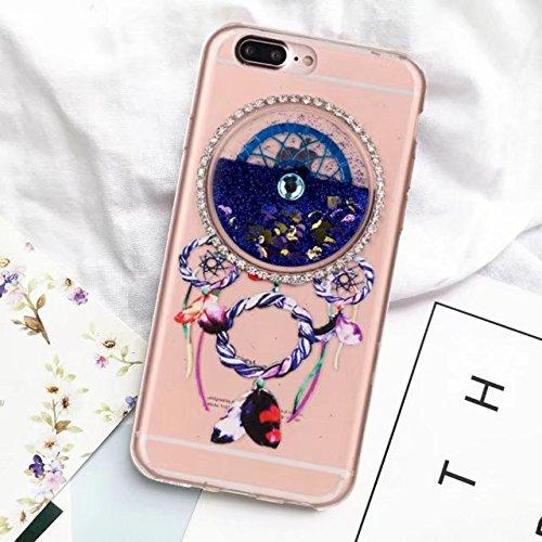 Glitzer iPhone 7 Plus Hülle, MOMDAD Traumfänger Dreamcatcher Wind Chime Campanula TPU Silikon Handyhülle für iPhone 7 Plus Schutzhülle Transparent Glitter Flüssig Fließen Quicksand Liquid Treibsand So Sapphire