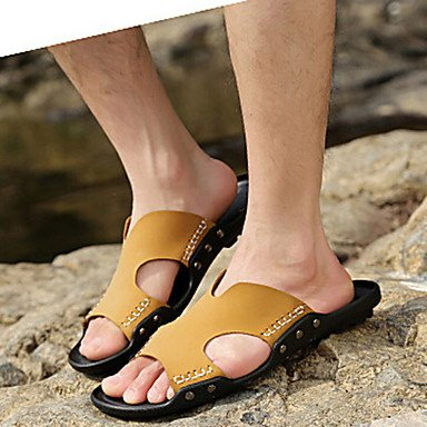 Sommer Sandalen Herrenschuhe Outdoor/Sportlich/Casual Leder Hausschuhe Schwarz/Braun Braun