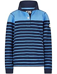 Lazy Jacks Ladies Super Soft Striped Button Neck Sweatshirt